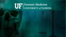 Zoom Virtual Background - Forensic Medicine logo with skull on left and scales of justice on the right